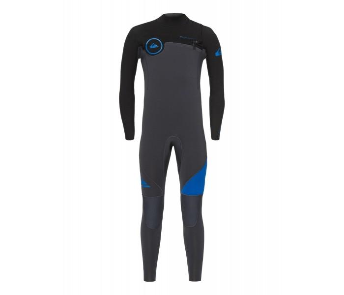 Combinaison de surf Quiksilver Syncro 5/4/3 mm GBS Front-Zip (Noire/grise/bleu)