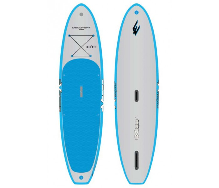 SUP gonflable Exocet Discovery 10'8 (Bleu/Gris) + pagaie + leash