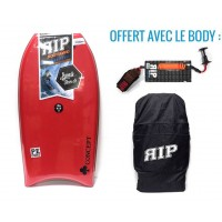 Bodyboard RIP Concept PE 38 (Rouge) + Leash + Housse