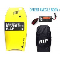 Bodyboard RIP Concept PE 41 (Jaune) + Leash + Housse