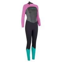 Combinaison de surf femme Animal Lava 4/3 mm Noir/Rose (BackZip)