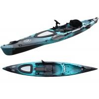 Kayak RTM Rytmo Pêche Luxe Big Bang + 1 siège + 1 pagaie Alu (Couleur Steel : Turquoise et Noir)