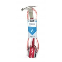 Leash de surf Roxy Fidji 6'0 (Rouge/Transparent)