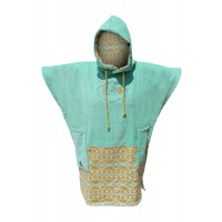 Poncho All-in V Bumpy (Turquoise/Indian Print)