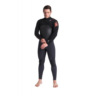 Combinaison de surf C-skins Wired 5/4 mm Front-zip (Noir/Anthracite)