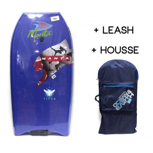 Bodyboard Manta Viper EPS 38 (Bleu) + Leash + Housse