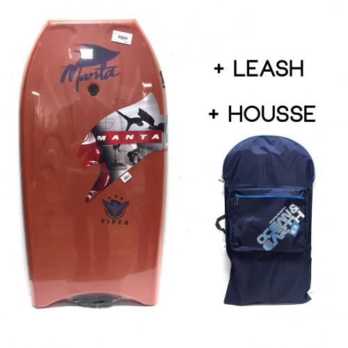 Bodyboard Manta Viper EPS 38 (Marron) + Leash + Housse
