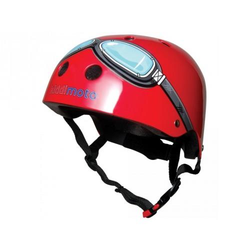 Casque Kiddi Moto Lunettes rouge