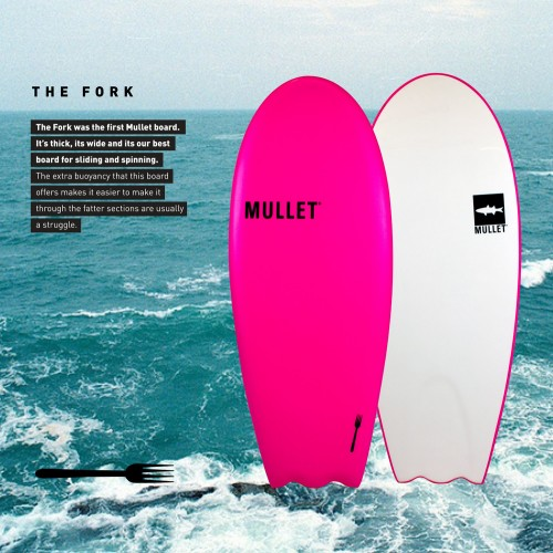 Planche de surf en mousse Mullet The Fork 4'8 (Noir/Orange)