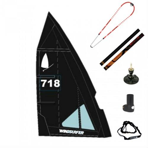 Gréement complet XO-Sails et voile Windsurfer LT 5.7 m² (Full Black : Noir)