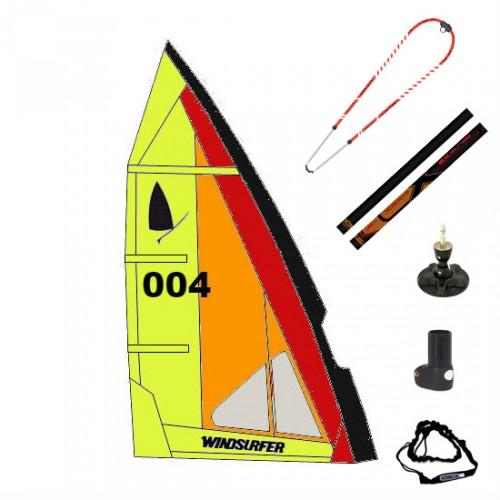 Gréement complet XO-Sails et voile Windsurfer LT 5.7 m² (German Sunset : Orange/Rouge/Jaune)
