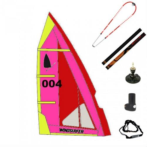 Gréement complet XO-Sails et voile Windsurfer LT 5.7 m² (Naish : Rouge/Rose/Jaune)