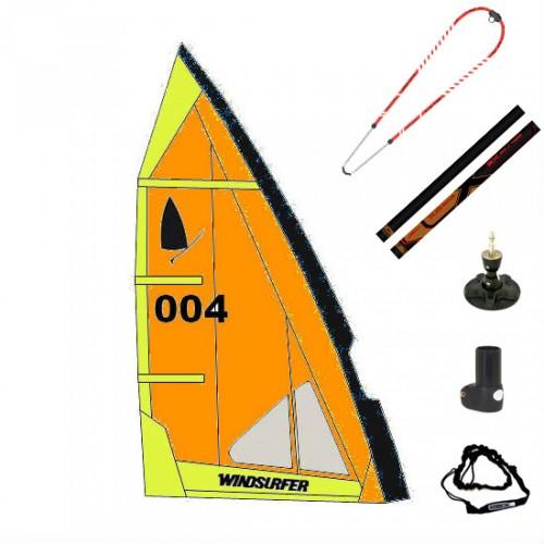Gréement complet XO-Sails et voile Windsurfer LT 5.7 m² (Orange Power : Orange/Jaune/Noir)