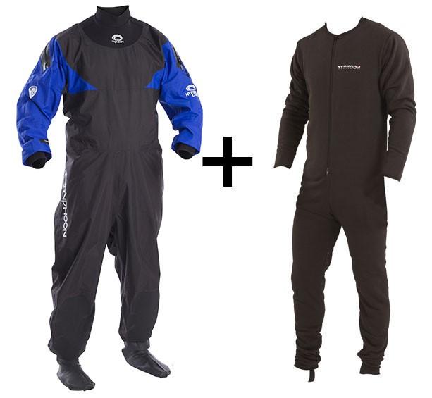 Combinaison étanche sèche Typhoon Hypercurve 3 Socks + sous-vêtement (Blue)