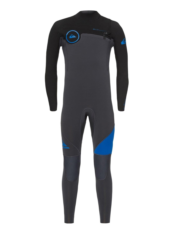 Combinaison de surf Quiksilver Syncro 5/4/3 mm GBS Front-Zip ((Noire/grise/bleu)