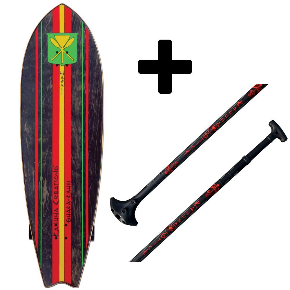 """Pack Paddle Skate Kahuna Creations Shaka Kahili 46"""" x 14"""" + Big Stick Haka"""